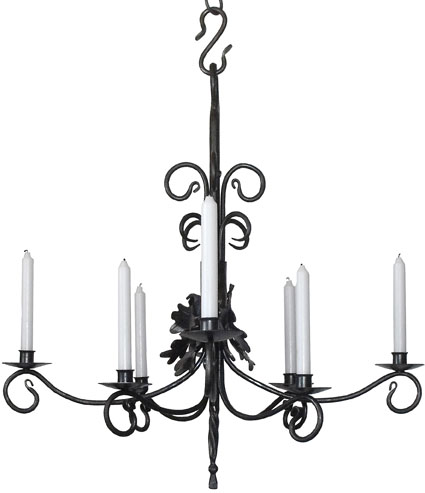 srought iron chandelier