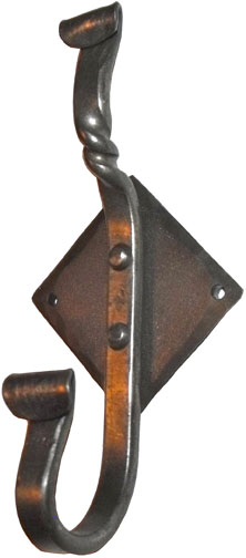 wrought iron diamond coat hook 1