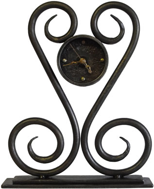 wrought iron heart desk clock